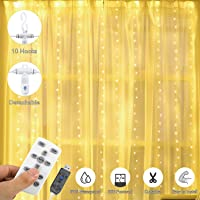 Curtain String Lights, 300 LEDs USB Copper Wire Lights, AGPTEK Remote Control Fairy Lights with Timer for Wedding Party Christmas Bedroom Indoor Outdoor, 8 Modes,Warm White