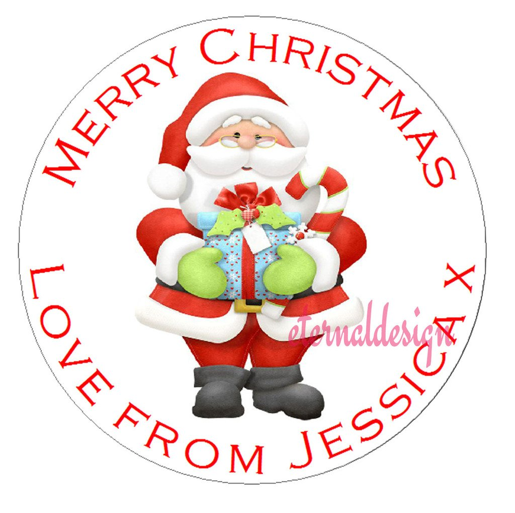 Eternal Design 35 x 37mm Personalised Glossy Christmas White Stickers XDCS 37