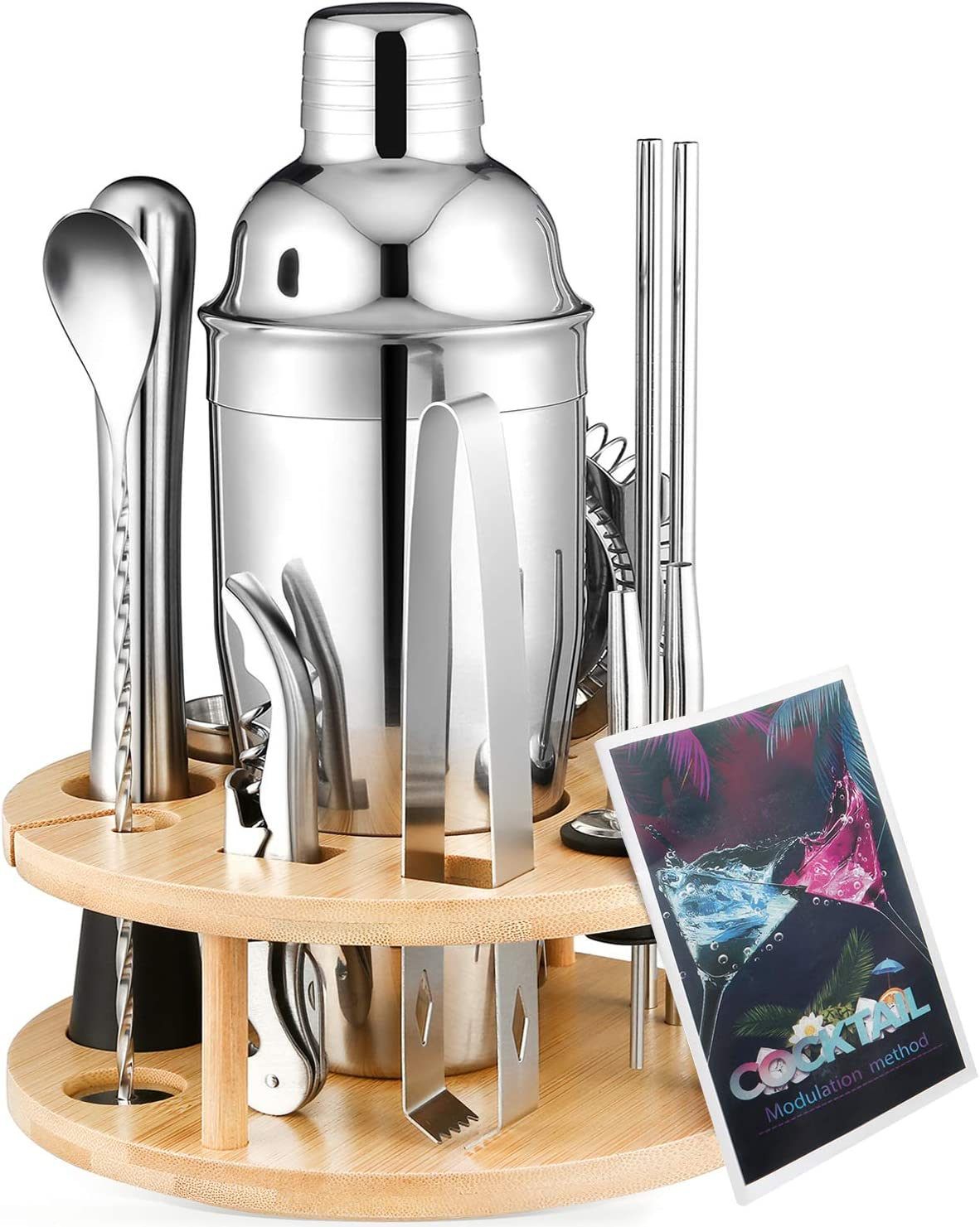 Kostlich Cocktail Shaker Set, 12 Piece Bartender Kit with Revolving Bamboo Stand, 25 oz Stailness Steel Martini Shaker Kit with Jigger, Muddle, Strainers and Recipes for Home Bar Drink Mixing
