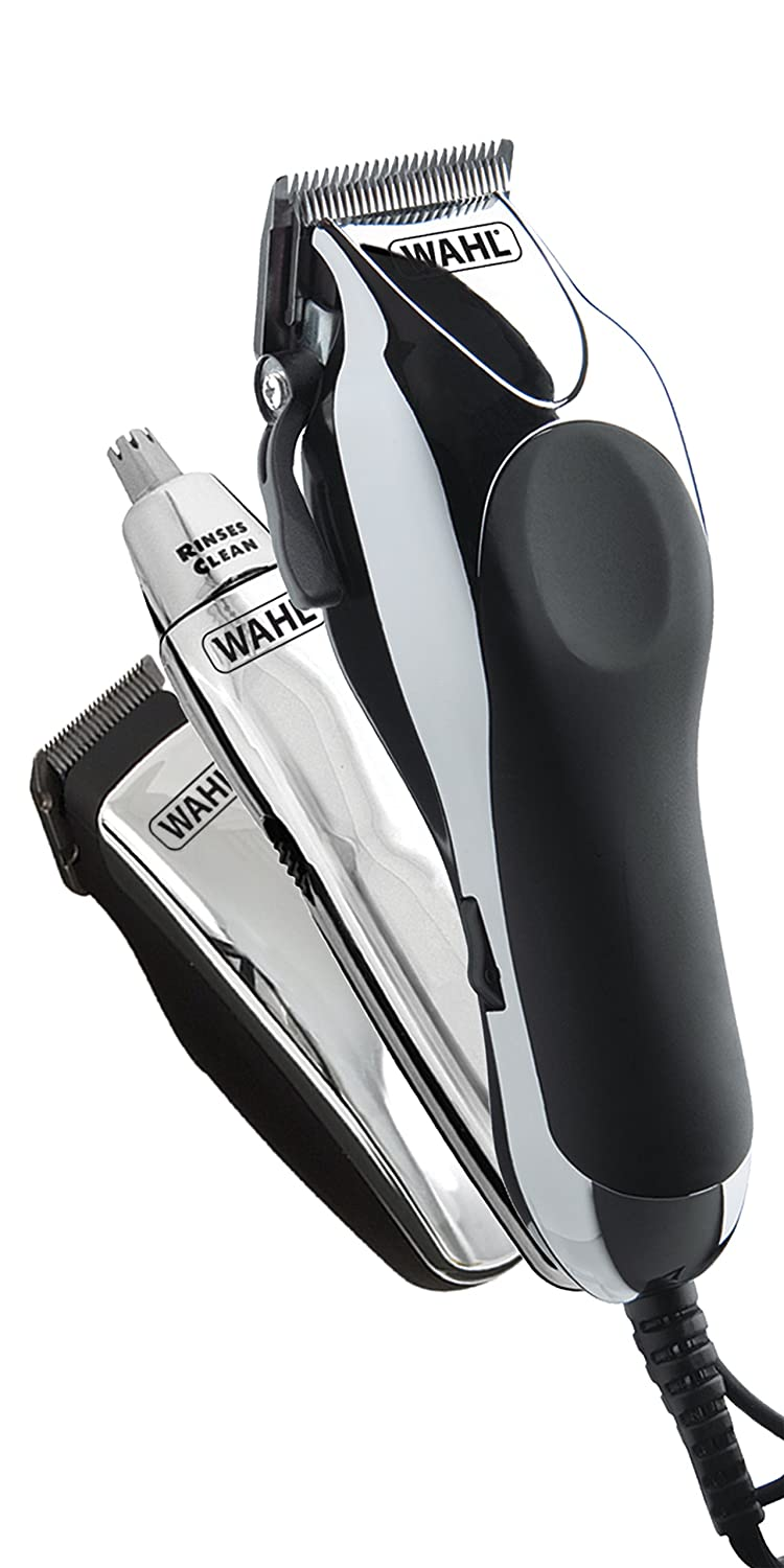 Wahl Chrome Pro Deluxe Mains Hair Clipper, Trimmer & Nasal Trimmer Set Chrome 79524-810 Gift Set HealthCentre 5037127007099