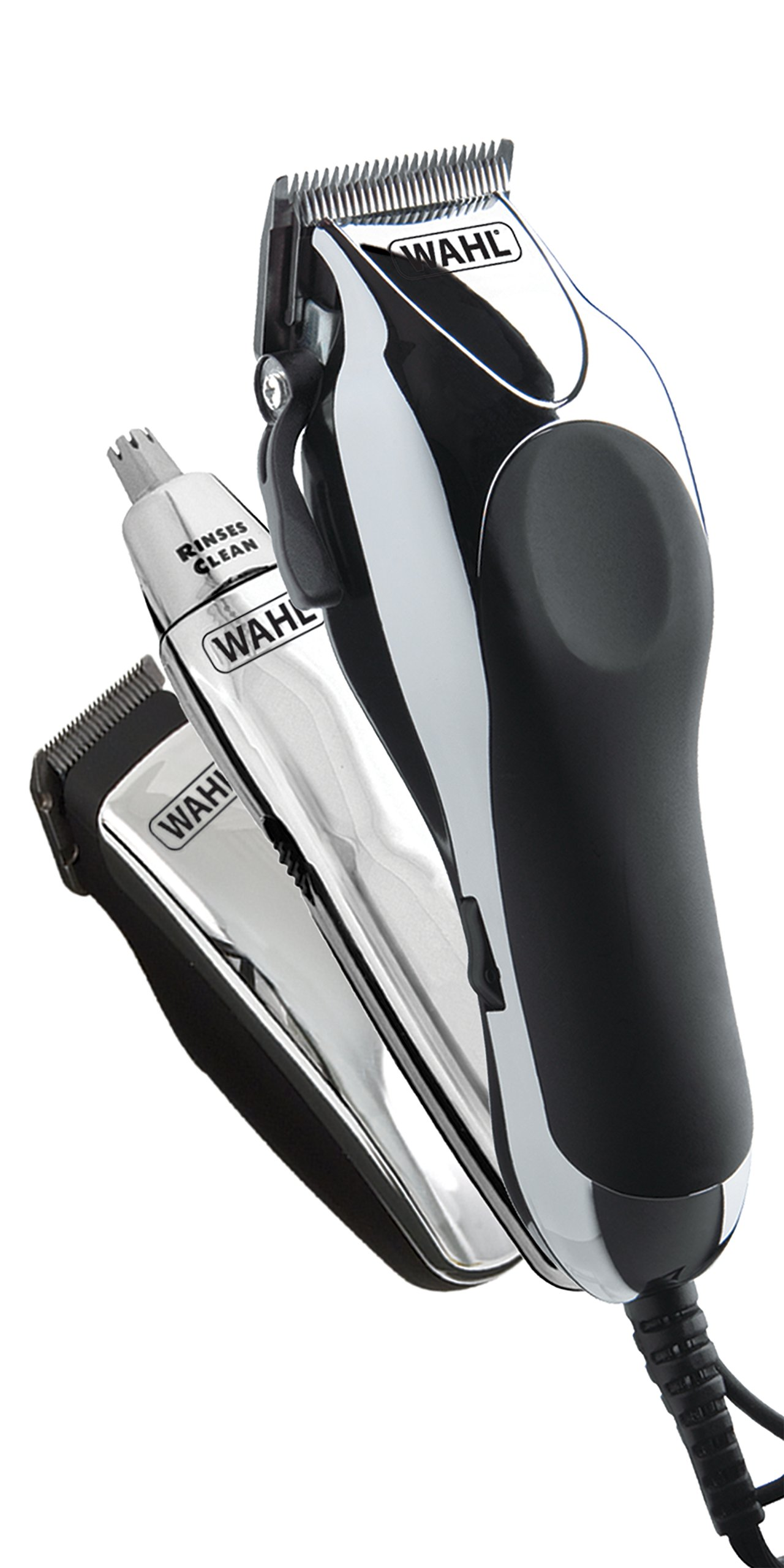 Wahl Chrome Pro Deluxe Mains Hair Clipper, Trimmer & Nasal Trimmer Set Chrome 79524-810 Gift Set