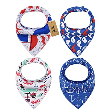 Absorbent Soft Cotton Lining 0-2 Years Color-9 iZiv 4 PACK Baby Bandana Drool Bibs with Adjustable Snaps