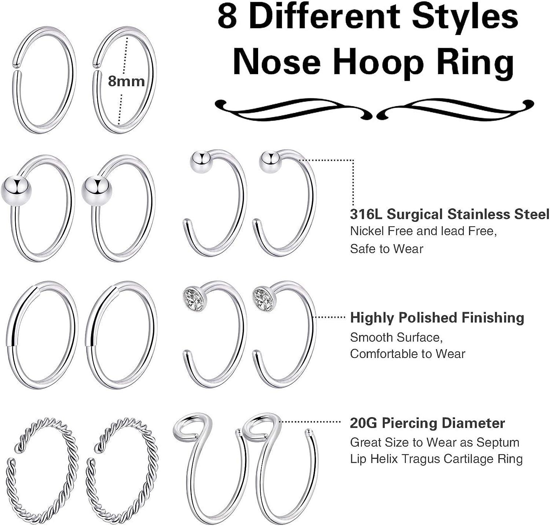 Details about  /32PCS L-Shaped Nose Studs Bone C-Shaped Nose Ring Tragus Cartilage Hoop Rings