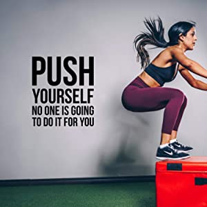 """Vinyl Wall Art Decal - Push Yourself No One is Going to Do It for You - 25.5"""" x 22.5"""" - Positive Gym Fitness Health Motivational Workout Lifestyle Locker Room Quotes Decor (25.5"""" x 22.5"""", Black)"""
