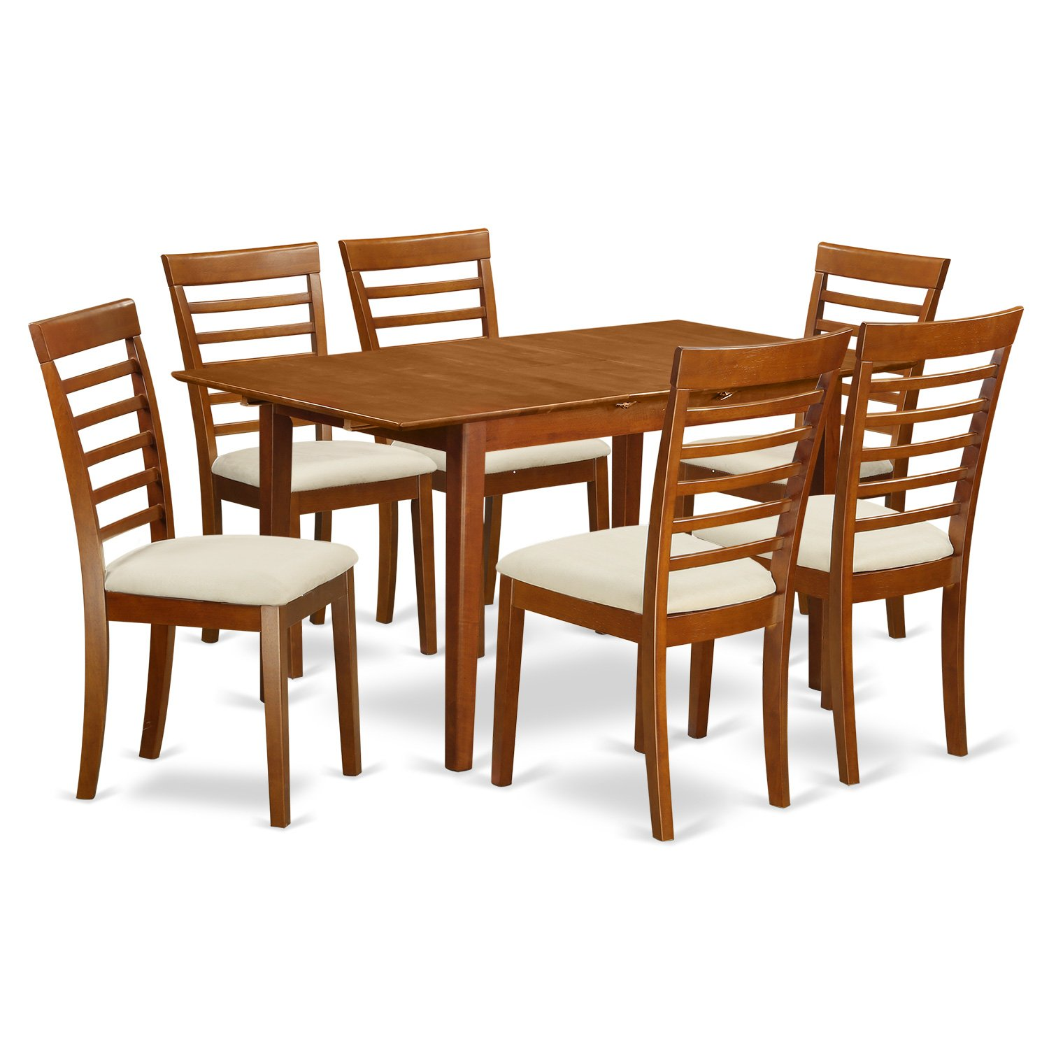 PSML7-SBR-C 7 Pc Table and chair set – Table and 6 Kitchen Dining Chairs