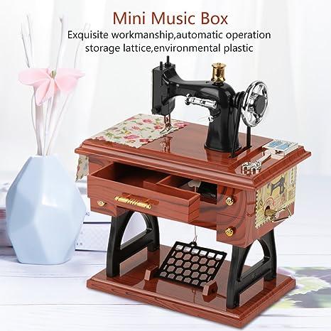 Hztyyier Caja de música de máquina de Coser Vintage, Caja de música Retro para el hogar, la Oficina, la decoración de la Sala de Estudio, el Regalo de cumpleaños de Navidad: Amazon.es: