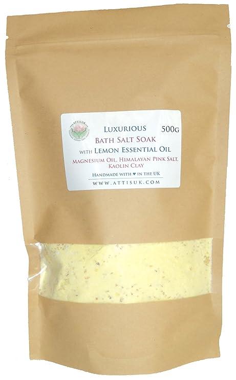 ATTIS Lujoso jabón de sal de baño con aceite esencial de limón, aceite de magnesio