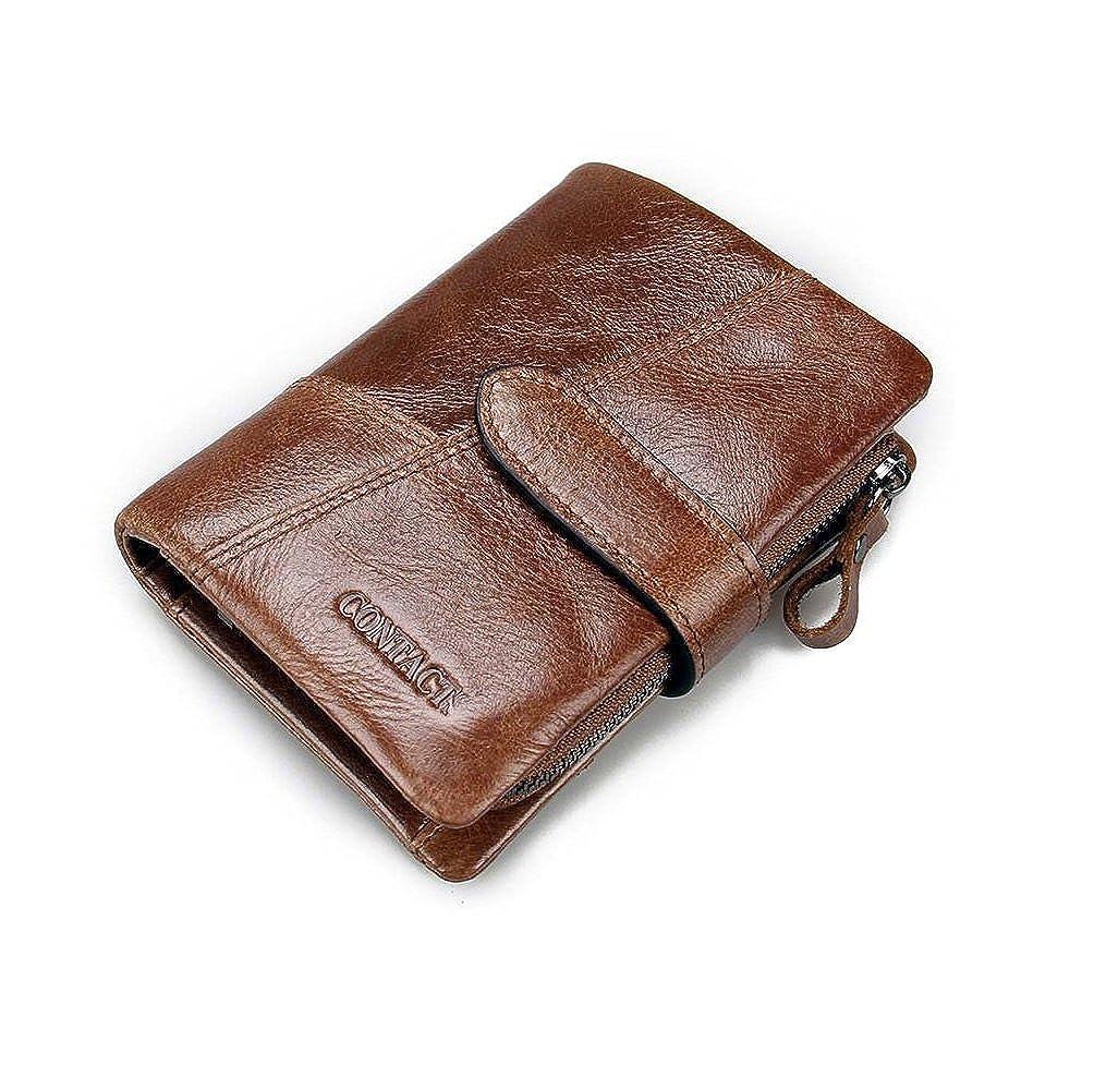 HYSENM Men Short Genuine Leather Wallet Retro Zipper Pocket Purse Large Capacity
