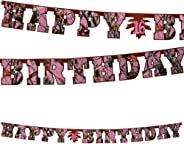 Pink Camo Happy Birthday Banner (Large, 7