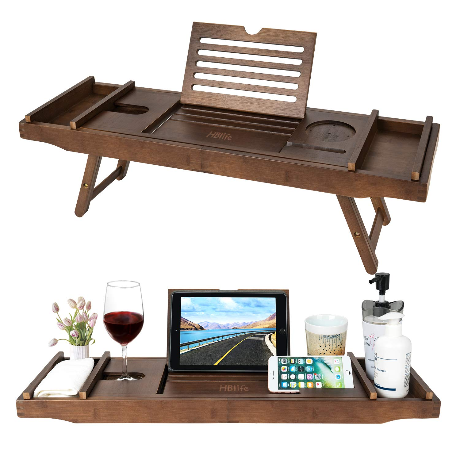 Bamboo Bathtub Caddy Tray with Extending Sides & Laptop Desk with Foldable Legs,Cellphone iPad Tray and Wineglass Holder,Free Soap Holde by HB-life