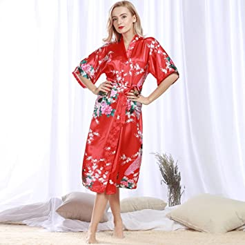 Albornoces GAOLILI Seda y otoño de Seda de Mujer Sexy camisón Largo Pijama Verano Batas de casa Desgaste del hogar (Color : B, Tamaño : XXXL): Amazon.es: ...