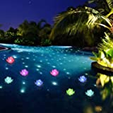 LOGUIDE Floating Pool Lights,LED Lotus Flower Lights,Battery multicolor Lamp Fun Pool Accessories for Pool At Night-Pond Outd