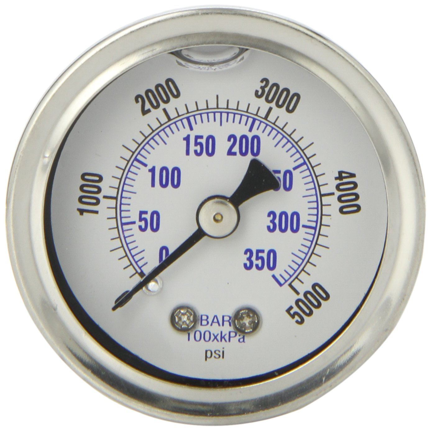 PIC Gauge 202L 158R 1.5 Dial 0 5000 psi Range 1 8 Male NPT Connection Size Center Back Mount Glycerine Filled Pressure Gauge with a Stainless Steel Case Brass Internals Stainless Steel Bezel and Polycarbonate Lens