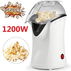 1200W Popcorn Machine Electric Machine Maker 4 Cups of Popcorn, Hot Air Popcorn Popper with Wide Mouth Design, Removable Lid, No Oil Needed (1200W - White)