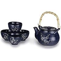 Hinomaru Collection Kagetsu Glazed Porcelain Japanese Sakura Cherry Blossom Tea Set 24 fl oz Teapot with Rattan Handle…