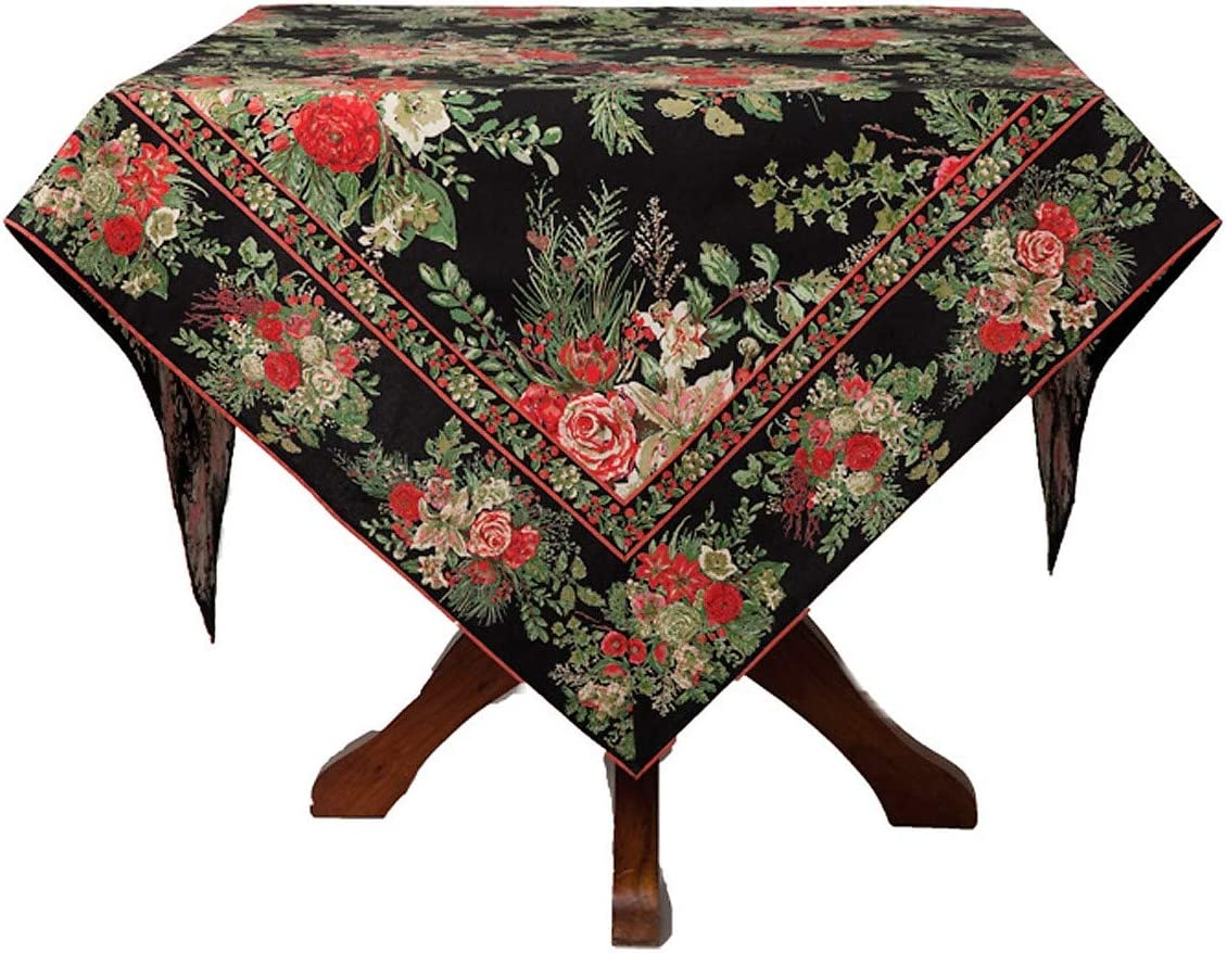 April Cornell Holiday Tablecloth Vibrant Floral on Black 100% Cotton 60 x 120