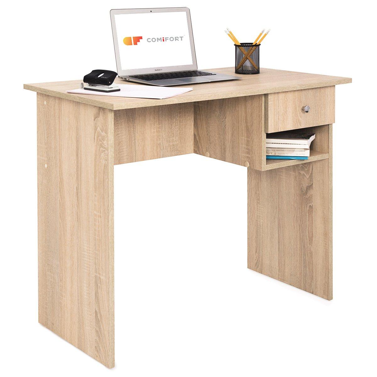 COMIFORT T02S - Escritorio con Cajon e Estante, Mesa de Ordenador, 90x50x74 cm,
