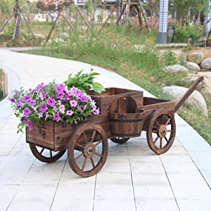 LHLYL-DP Garden Cart Planter Stand, Raised Garden Bed Trough Planter, Car Style Wood Flower Pot Rack, Decorative Indoor/Outdoor Garden Backyard Planter, Retro Country Style