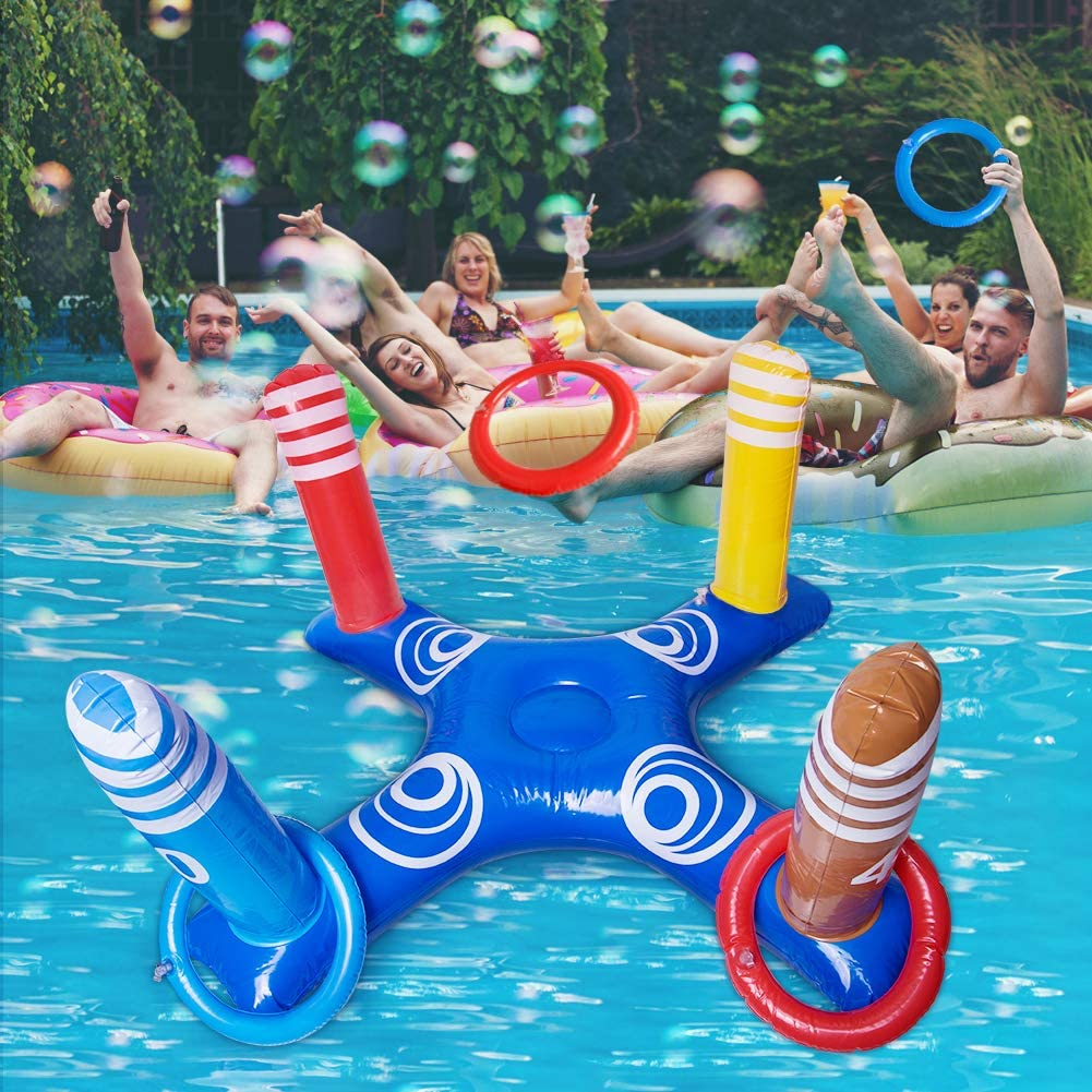 Amazon.com: Inflatable Ring Toss Pool Game with 8 Pcs Floating Rings, Water  Fun Floats Play Game for Summer Beach Pool Family Party Indoor Outdoor:  Toys & Games
