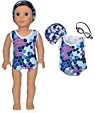 American girl Doll clothes - Blue Swimsuit/Bathing suit fit for 18 inches American girl dolls - Bikini,Goggles & Cap