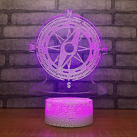3D Lámpara de Escritorio Mesa 7 cambiar el color Brújula botón ...