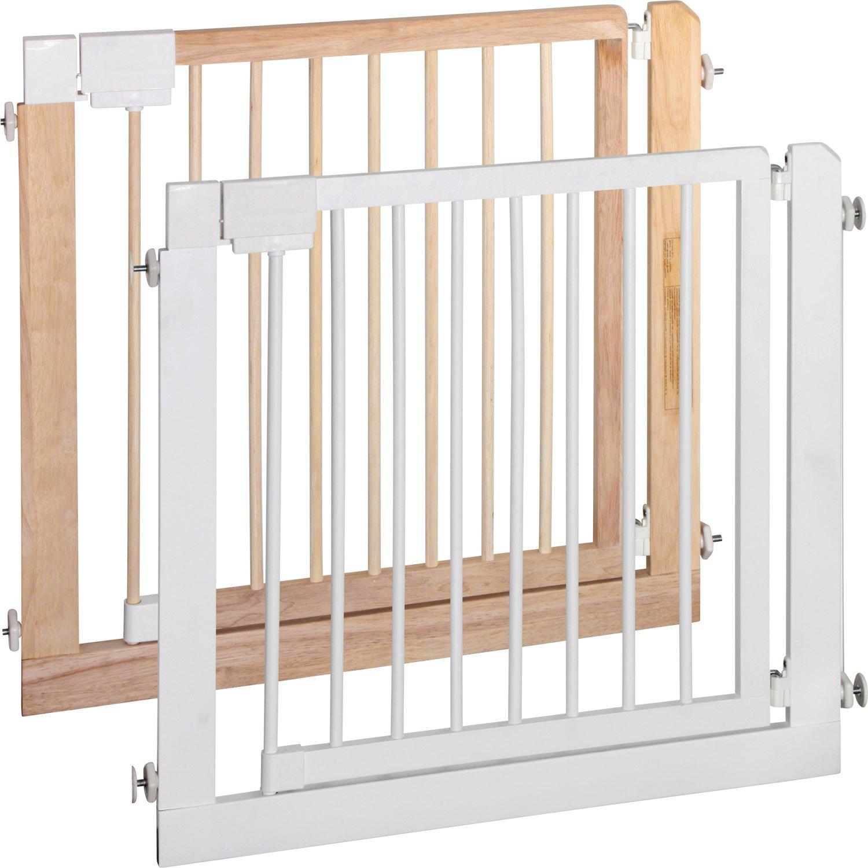 ib style-KOLBY | Treppengitter zum Klemmen| aus massivem Holz |80-86cm Natur