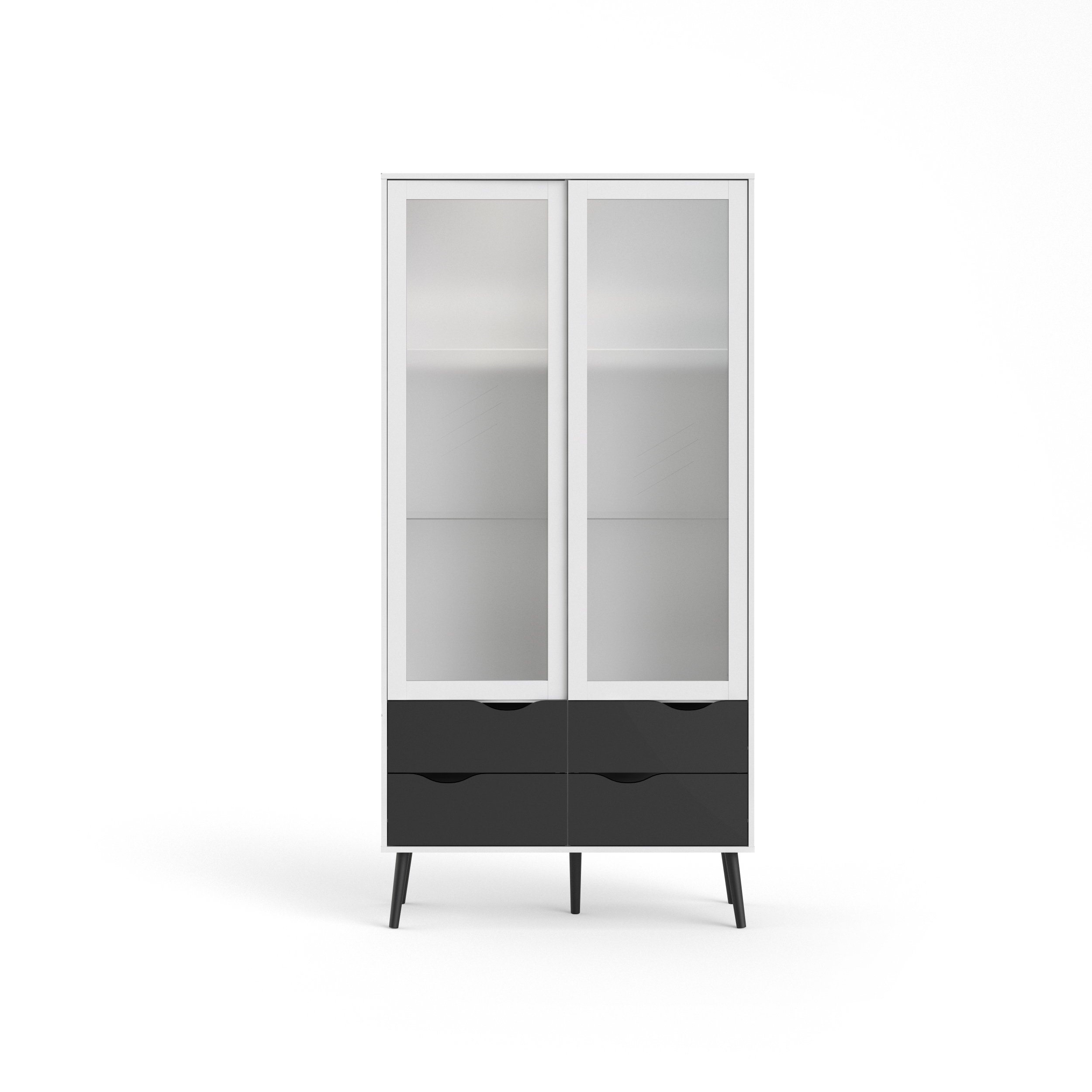 Tvilum 7546249gm Diana 4 Drawer and and 2 Door Glass China Cabinet, White/Black Matte