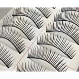 10 Pairs Of Super Thin Black Fake False Eyelashes Eye Lashes (#637)