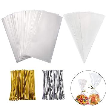 SHI WU Bolsas Transparentes de 400 Piezas con Bridas, Corbata triángulo Transparente Tratar Bolsas de Regalo de Bricolaje para el Regalo de San ...