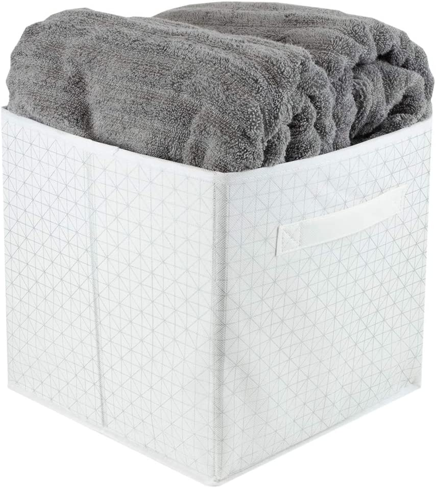 Home Basics D Metallic Diamond Non-Woven Storage Bin Cube Basket Box, Dual Handles & Removable Bottoms Collapsible Foldable for Home Decor Office Closet Bedroom Drawer Toy Organizer Everyday U, White