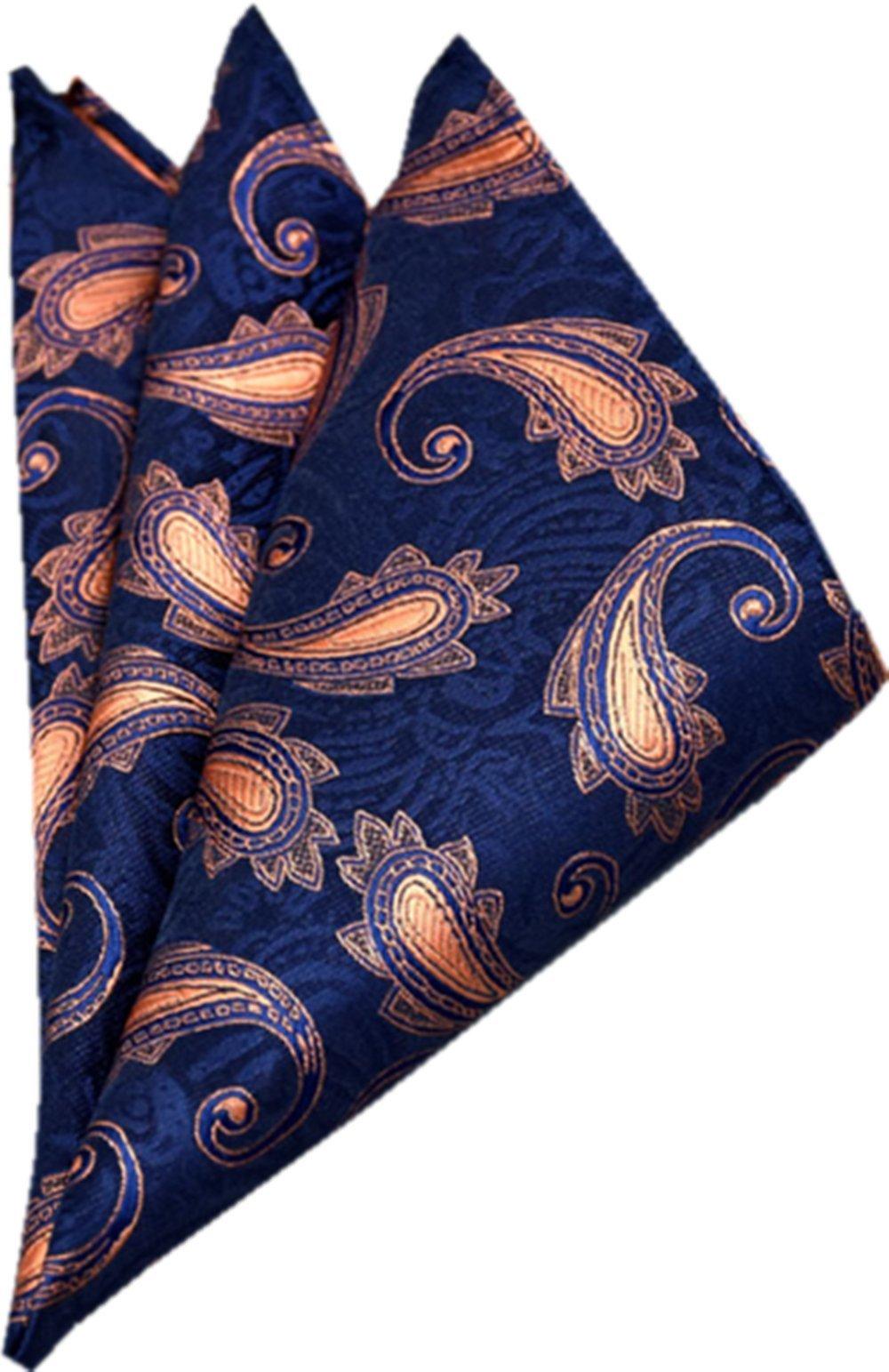 YUNEE Mens Cotton Pocket Square Handkerchief Hanky (Color8)