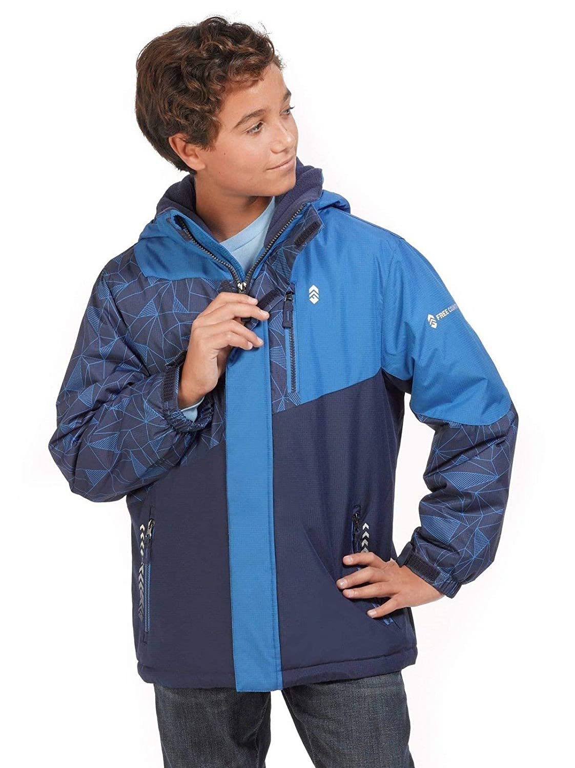 Free Country Hooded Boarder Jacket for Boys XS-5//6 Electric Blue