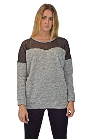 Urban Outfitters Womens Grey Long Sleeve Sweater With Black Mesh