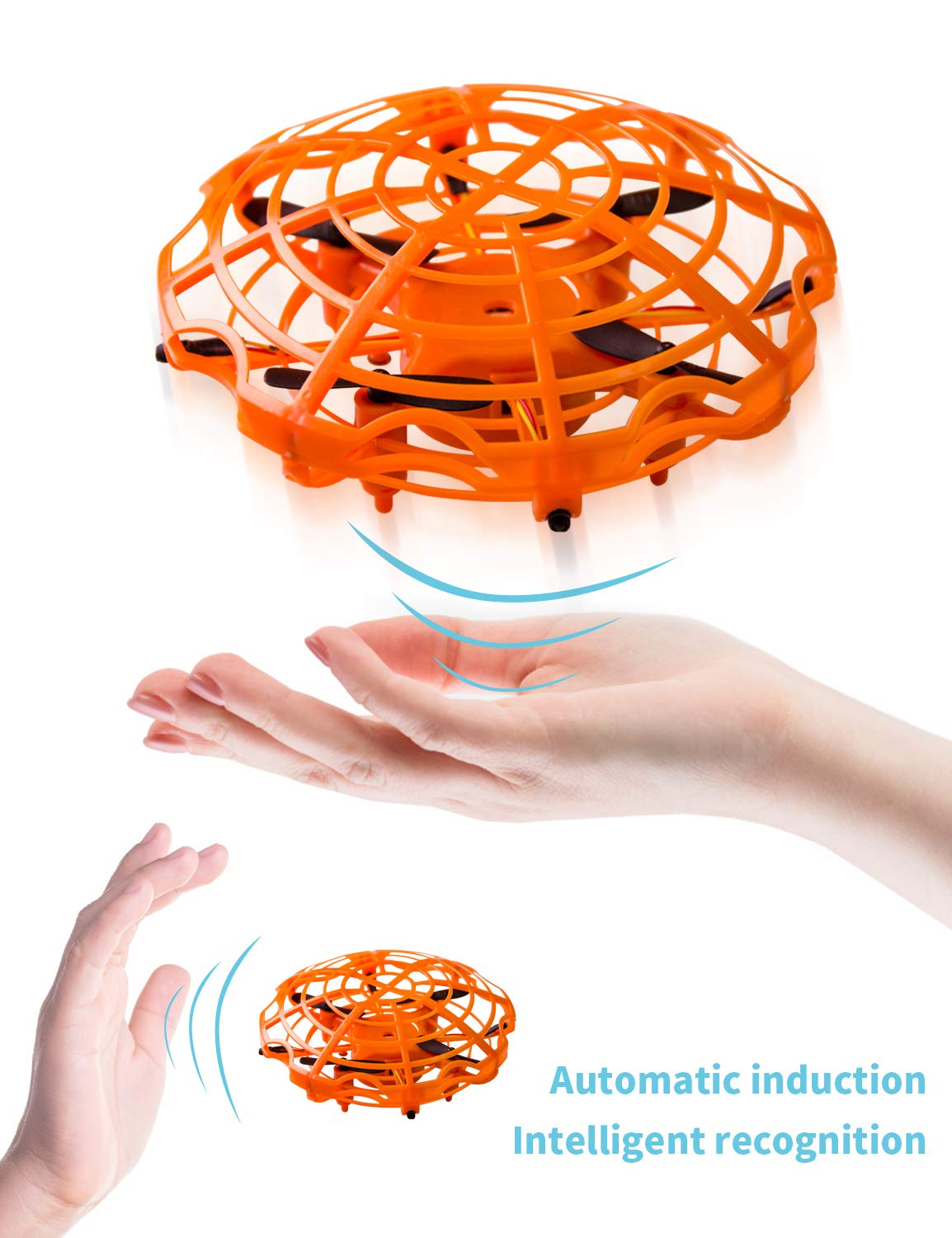 Refasy Flying Toys for Kids, UFO Toy for Boys 3 4 5 6 7 8 9 10 11 12 Year Old Drones for Kids Mini Drones Hand Controlled Flying Ball Drone Toys LED Light for Kids, Boys and Girls Toys Orange by Refasy (Image #4)