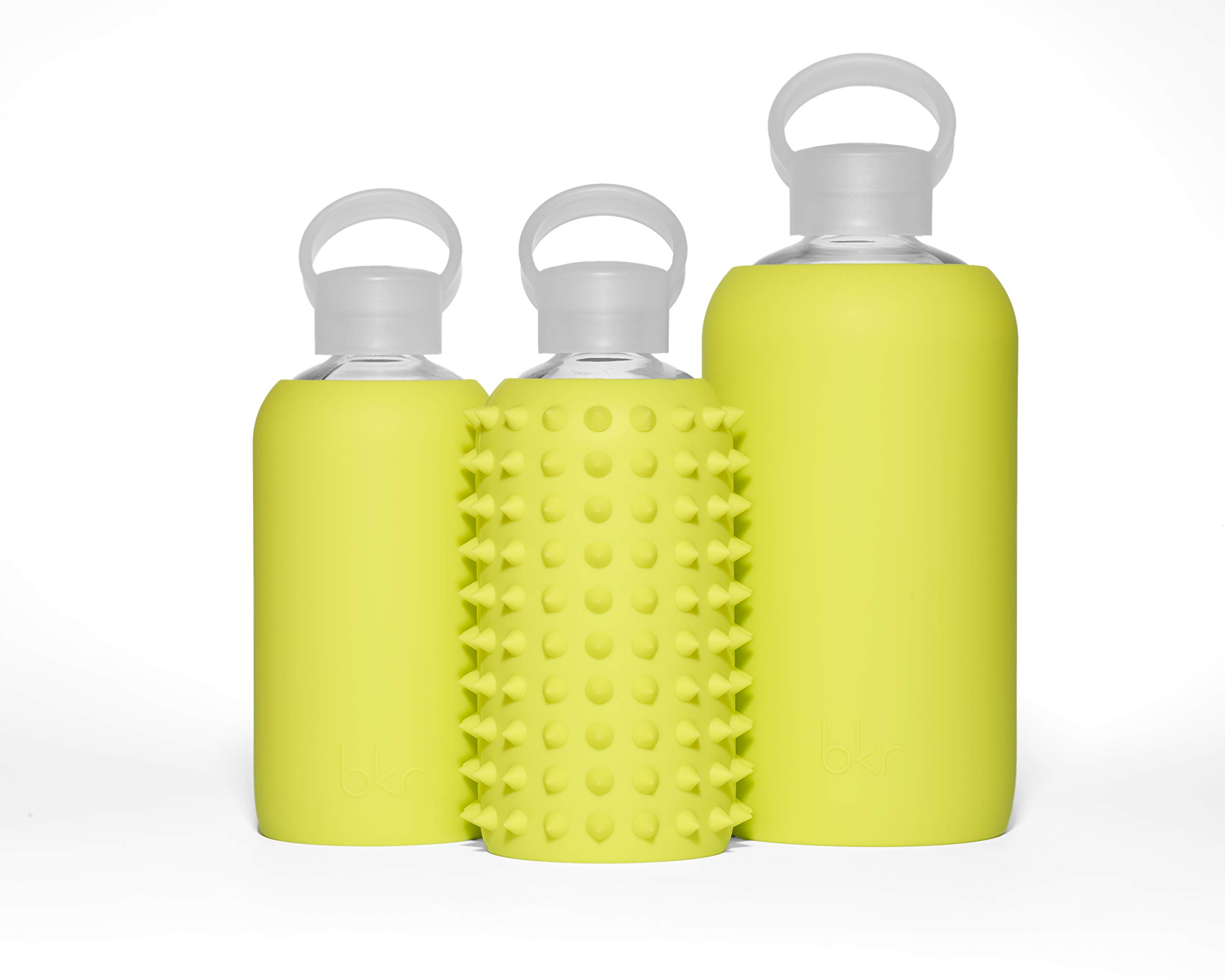 bkr Gigi Glass Water Bottle with Smooth Silicone Sleeve for Travel, Narrow Mouth, BPA-Free & Dishwasher Safe, Opaque Lime Yellow, 1 Count by bkr (Image #7)