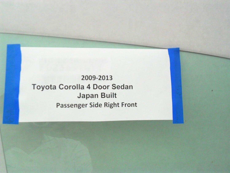 Fits 2009-2013 Toyota Corolla 4 Door Sedan Passenger Side Right Front Door Window Glass JAPAN BUILT NEW
