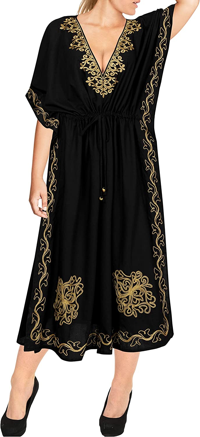 Vintage Nightgowns, Pajamas, Baby Dolls, Robes LA LEELA Womens One Size Caftan Evening Dresses Swimwear Cover Ups Embroidered $29.66 AT vintagedancer.com