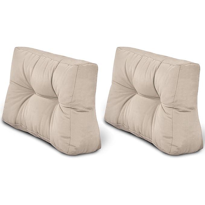 Beautissu Cojines para palés Eco Style - Cojines de Apoyo 2X 60x40x10-20 cm : Natural - Cojín: Apoyo (2 Piezas)