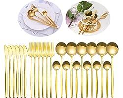 Conjunto de talheres espelho de ouro 24 unidades conjunto de talheres de aço inoxidável, garfo, conjunto de talheres para col