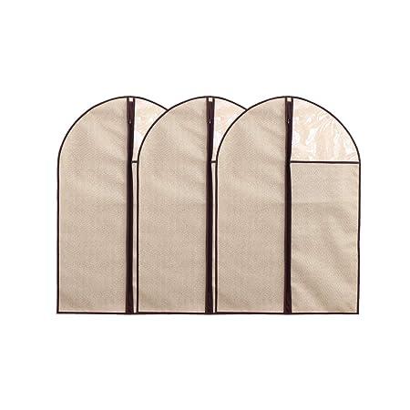 HongRui - Funda de Traje, Funda para Ropa, guardarropa, Textil no Tejido, con Cremallera, 3Packs (Beige, 60 * 80 cm)