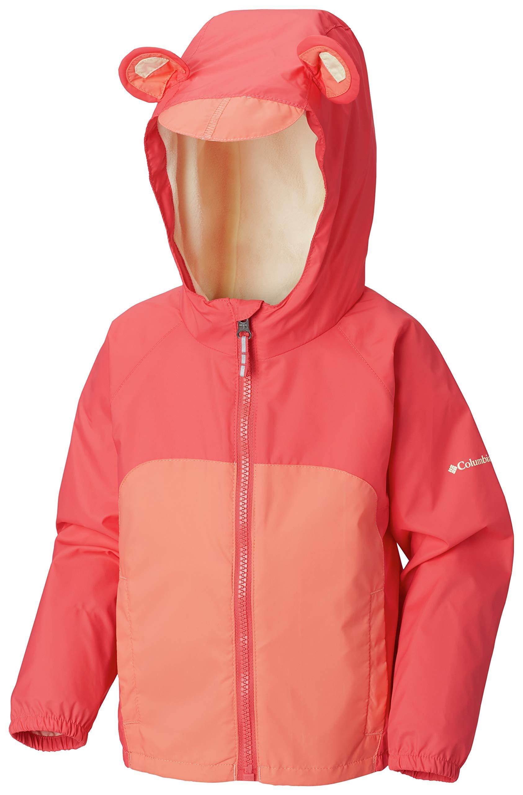 Columbia Kids Baby Girl's Kitteribbit¿ Fleece Lined Rain Jacket (Infant/Toddler) Bright Geranium/Hot Coral/Lime Freeze 12-18 Months