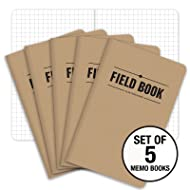 "Field Notebook - 3.5""x5.5"" - Kraft - Graph Memo Book - Pack of 5"