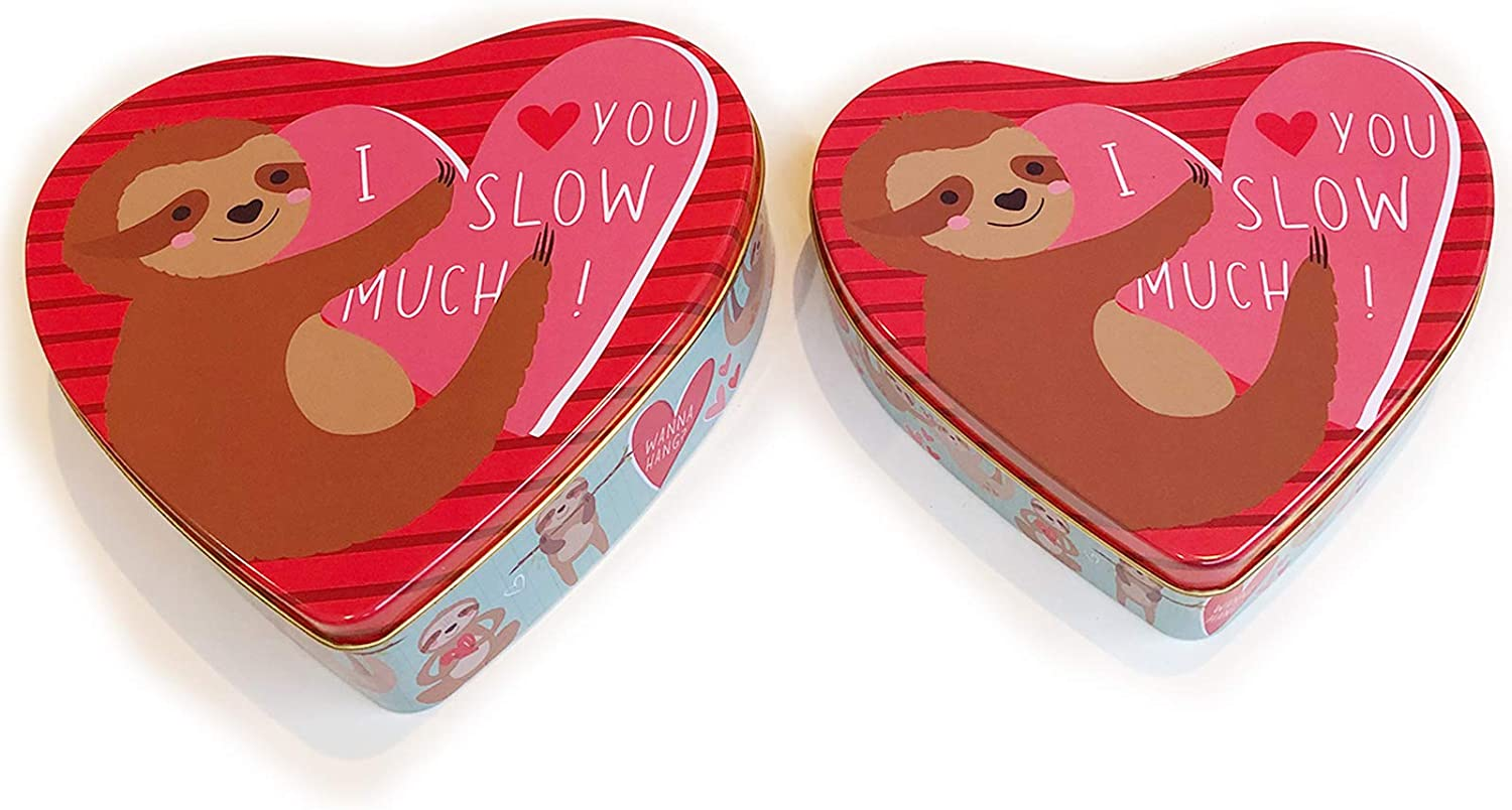 Valentines Day Cookie Tins with Lids for Gift Giving Empty Red Heart Shaped Container for Candy Snack Storage Pastry Treat Swap Metal Boxes for Goodies, Chocolate, Nuts, Romantic Love Tin for Her