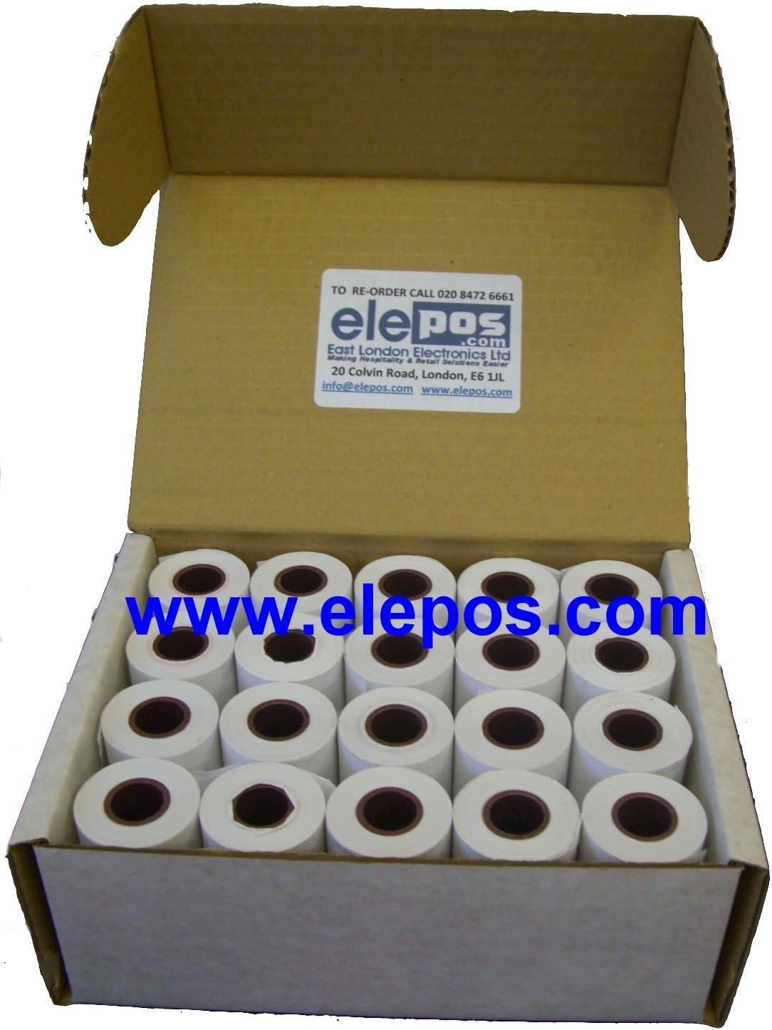 20 Rolls elePOS/® 57x30 Thermal Rolls to fit Able AP1300-BT AP-1300BT AP1300BT