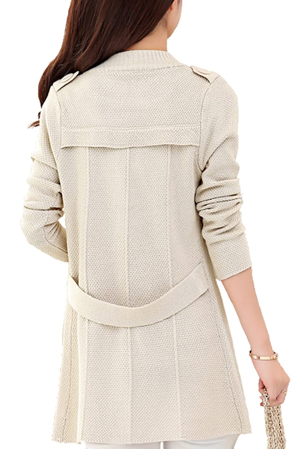 CLJJ7 Women's Loose Open Front Mid-long Knit Cardigan Sweater at ...