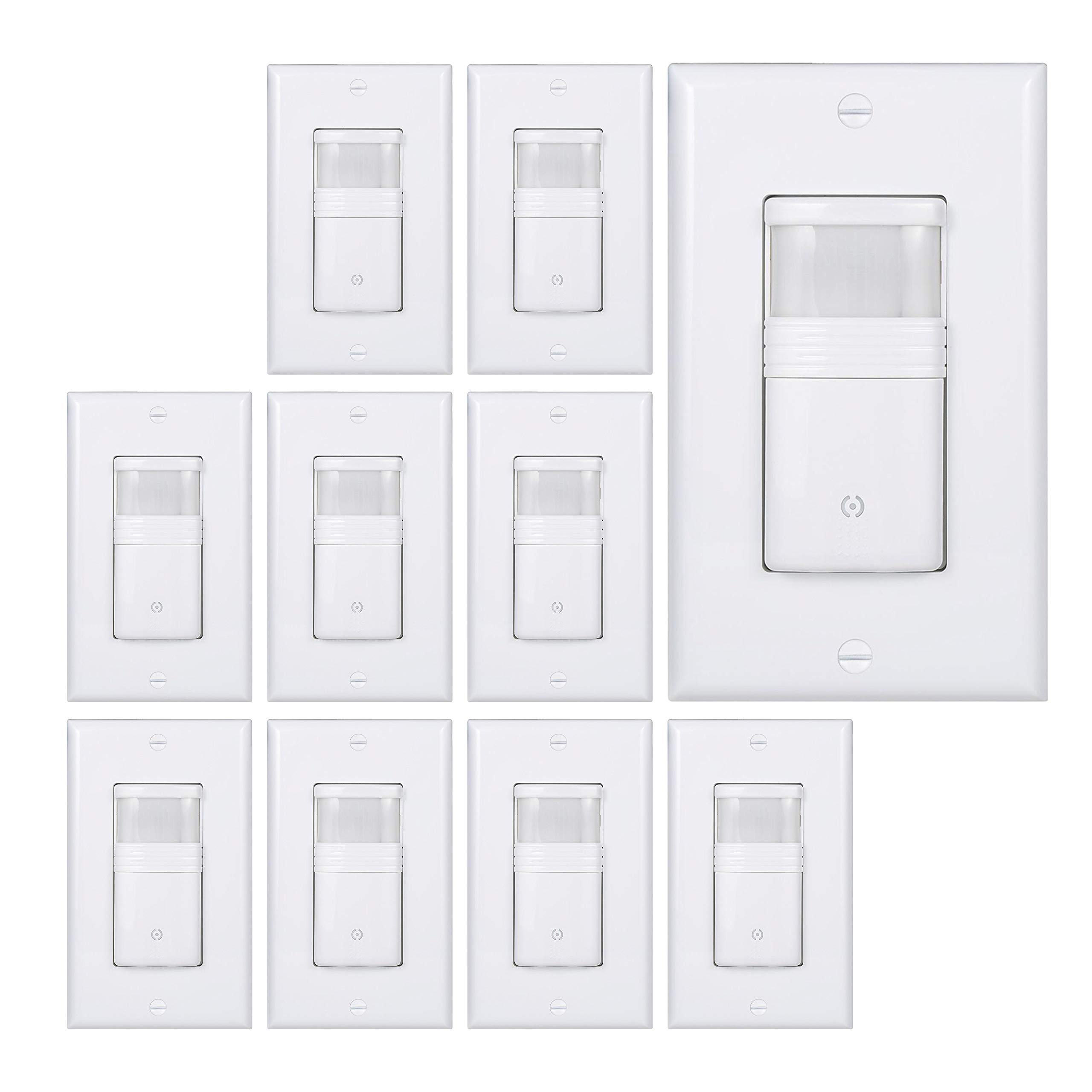 (Pack of 10) White Motion Sensor Light Switch - NEUTRAL Wire Required - Single Pole Only (Not 3-Way) - For Indoor Use - Vacancy & Occupancy Modes - Title 24, UL Certified - Adjustable Timer