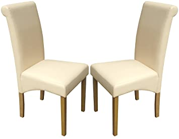 Set of 2 Cream Faux Leather Scroll Top Dining Chairs With Padded Seat   Oak  FinishSet of 2 Cream Faux Leather Scroll Top Dining Chairs With Padded  . Oak Dining Chairs With Cream Leather Seats. Home Design Ideas