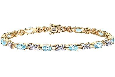 Naava Women's Diamond and Sapphire Bracelet, 9 ct Yellow Gold, Prong Setting 0.05 ct Diamond Weight, Model PBC1856/S