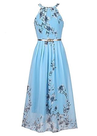 Women\'s Boho Halter Dress Casual Beach Chiffon Dress with Belt ...
