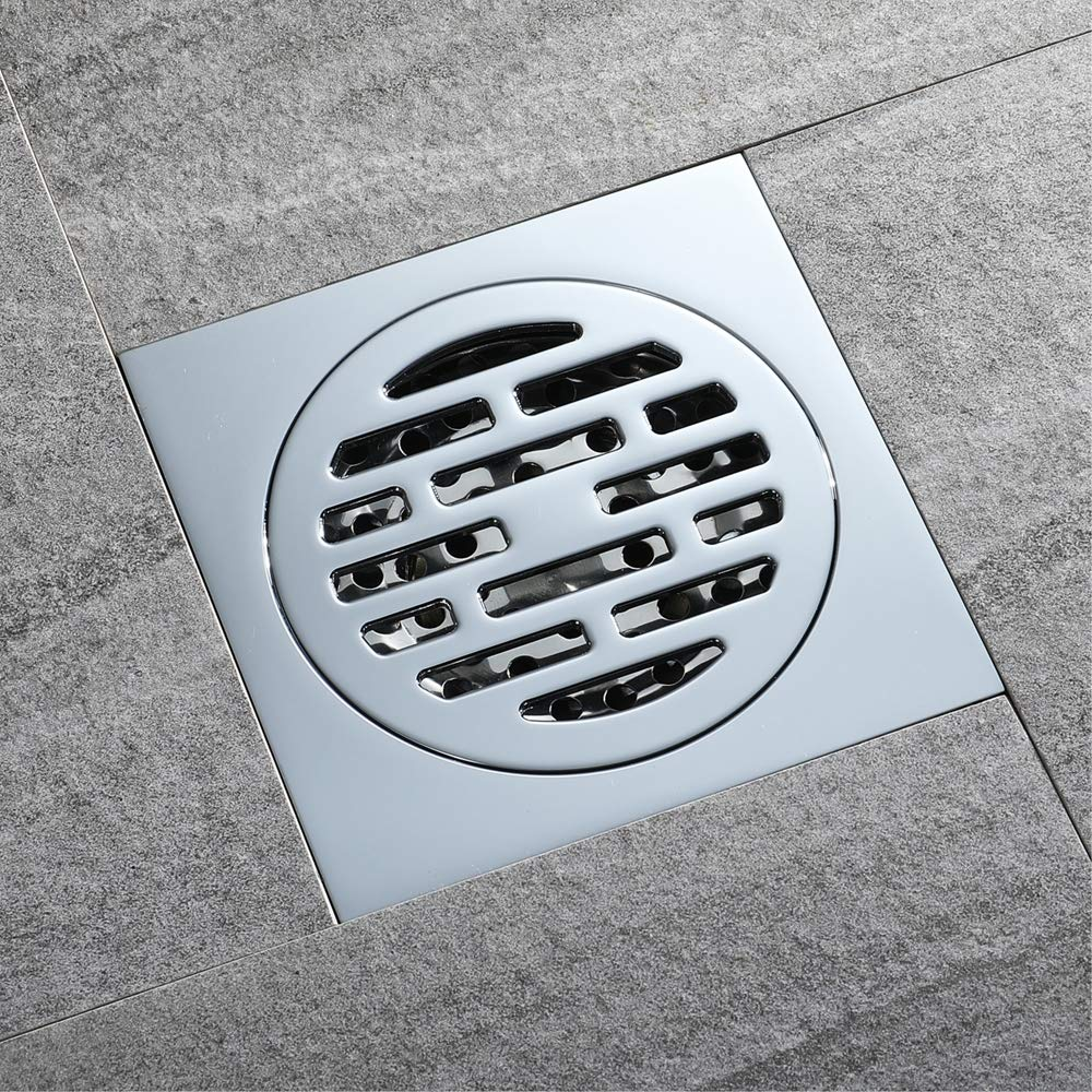 Floor Drain, with Removable Cover Stainless Steel Square Anti-Odor Bathroom Floor Drain Shower Drainer Large Caliber Stainless Steel Bathroom Floor Linear Shower Drain Channel Stainless Steel Shower